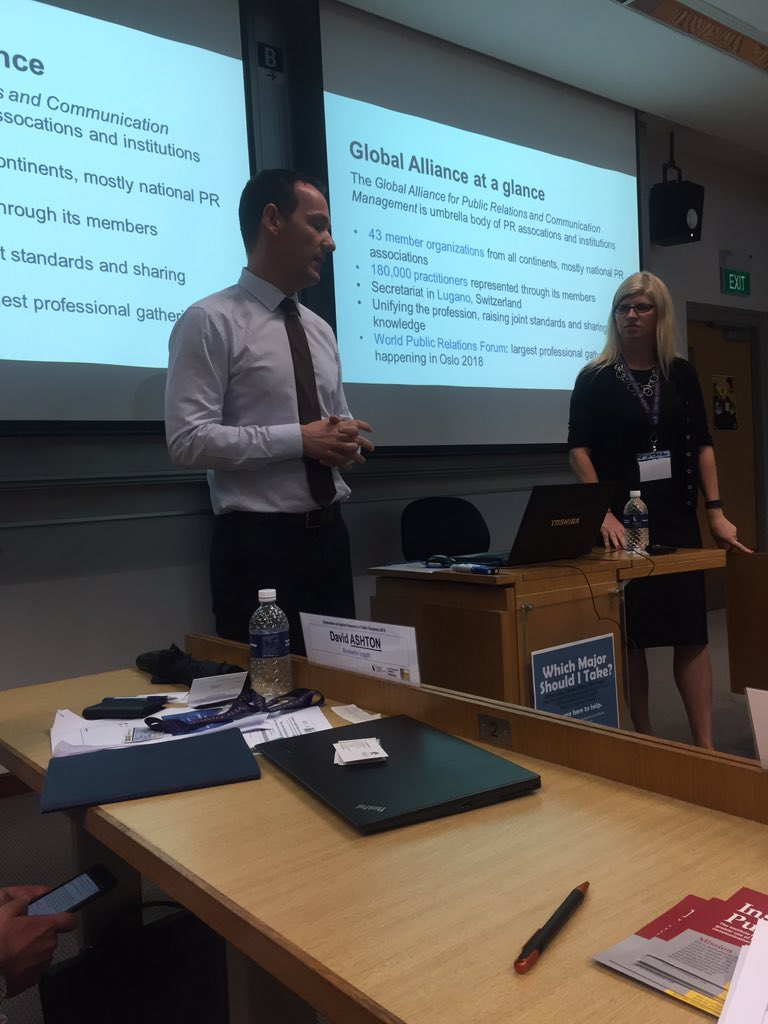 Gregor Halff and Tina McCorkindale presenting at the IPR Research Symposium in Singapore